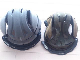 購入したヘルメットの内装部品と劣化した内装部品