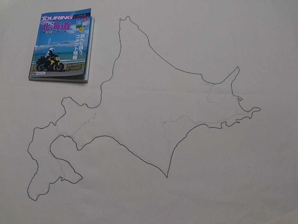 北海道の地図を書いた寄せ書きフラッグ