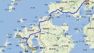 神崎鼻を回った後、広島までのルート