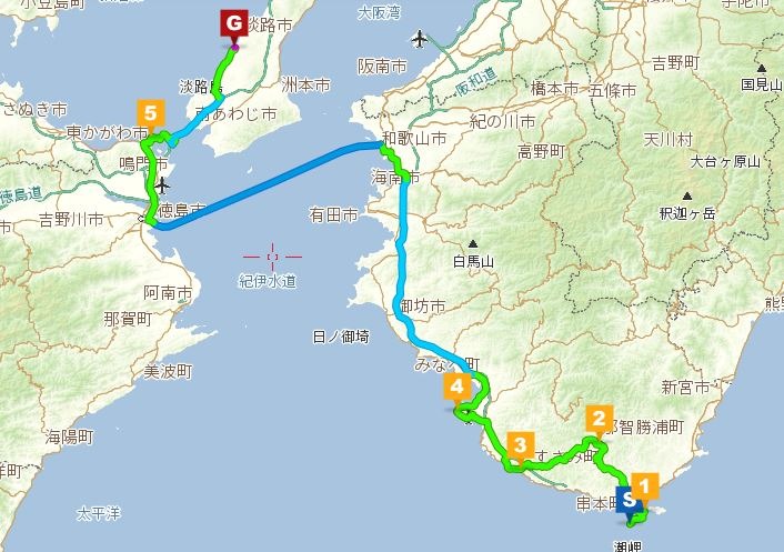 潮岬からのルート図5