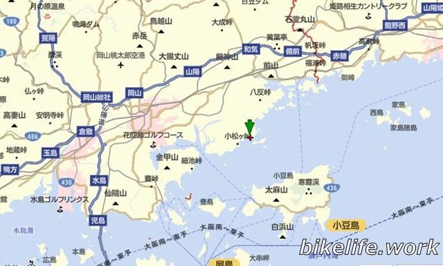 牛窓の地図で位置を確認