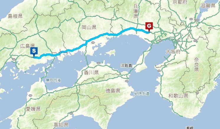 潮岬への地図 三木SA付近