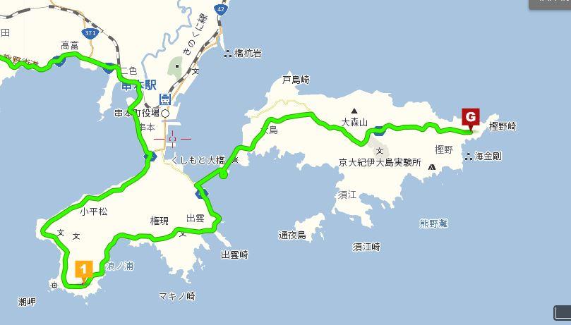 潮岬から大島までの地図