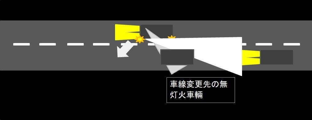 無灯火車両との事故