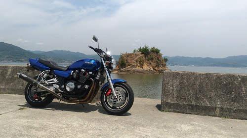瀬戸内海のモンサンミッシェルとXJR1200