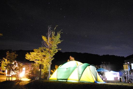 緑水湖オートキャンプ場の夜空