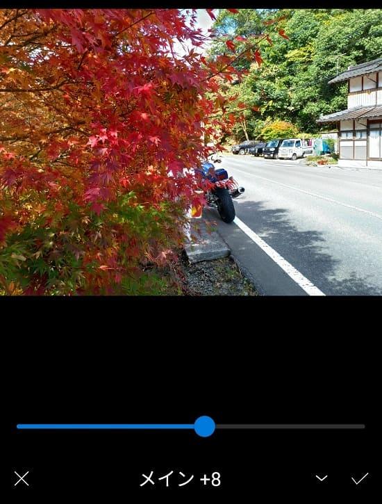 スマホで編集した紅葉の写真