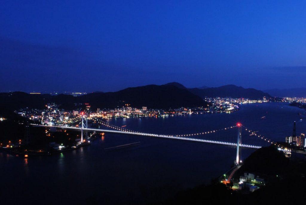 火の山公園から見る関門橋の夜景