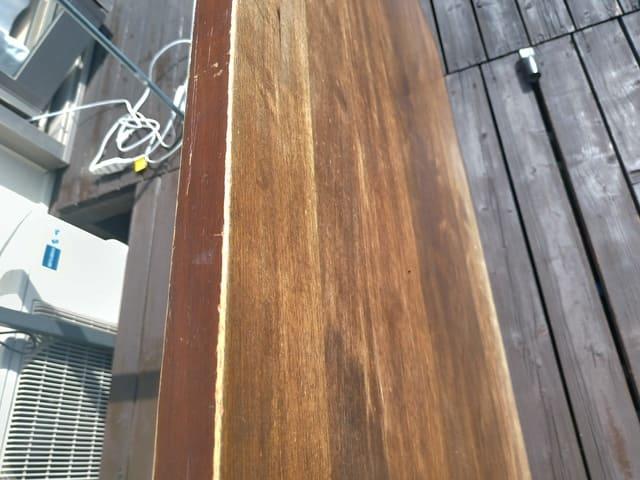 塗装しなかったテーブルの小口