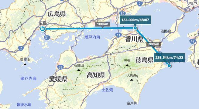 四国の最北端と最東端